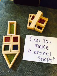 Geometry for preschool. Create a dreidel using blocks Geometry for preschool. Create a dreidel using blocks Hanukkah For Kids, Hanukkah Crafts, Jewish Crafts, Hannukah, Holiday Crafts, Kwanzaa, Preschool Crafts, Crafts For Kids