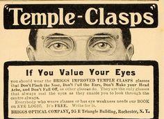 1904 Vintage Ad Briggs Temple Clasps Glasses Eyeglasses