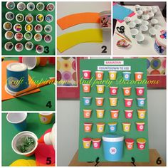 Eid countdown calendar for kids. Small yogurt cups wrapped with paper and filled with goodies.