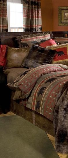Rustic Bedding Sets for 2020 Rustic Bedding Sets, Western Bedding, Rustic Quilts, Log Cabin Living, Buy Bed, Bedding Sets Online, Bedroom Styles, Bedroom Ideas, Bed Styling