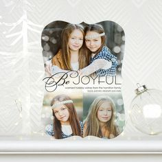 Be Joyful! Brilliant Joy - #Holiday Photo Cards by Sarah Hawkins Designs for Tiny Prints in Black