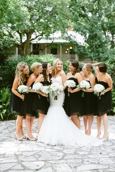 Classic black and white bridal party: http://www.stylemepretty.com/texas-weddings/san-antonio/2014/11/05/elegant-wedding-at-southwest-school-of-art/ | Photography: Christine Sargologos - http://www.sargologos.com/
