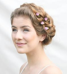 Pink Rose Wedding Hair Accessories, Bobby Hair Pins for Women, pink Hair Flowers, Valentines Day Gifts, Bridesmaids Hair Accessory Vintage Wedding Hair, Wedding Hair Pins, Bridal Hair, Rose Wedding, Dream Wedding, Pretty Hairstyles, Wedding Hairstyles, Braided Hairstyles, Bridesmaid Hair Accessories