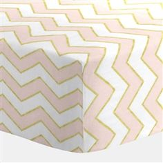 Pale Pink and Gold Chevron Crib Sheet 250x250 image