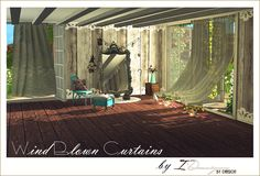 Wind Blown Curtains, Antique Mirrors + Victorian Lace Rugs (new meshes) Vol.I | Sims 4 Designs.