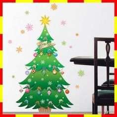 PSC-60005 CHRISTMAS TREE Wall/Window Deco Removable Sticker Decor Decals