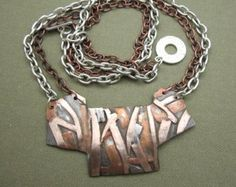 mixed metal necklace industrial jewelry silver necklace