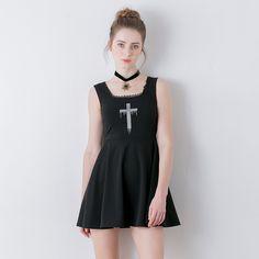 Summer high waist Hepburn style knitted sleeveless vest black cross embroidery bust darkness gril punk lolita one-piece dress
