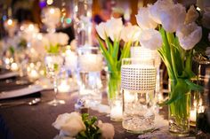 crystal and white tulip reception decor