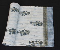 Indian Handmade Hand Block Print Queen Size Kantha Bedsheet Kantha Bedcover #Handmade #ArtsCraftsMissionStyle
