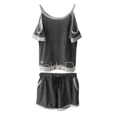Scoop Neck Hollow Out Short Sleeve T-Shirt and Shorts Suit
