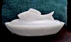 Atterbury Fish on Boat Milk Glass Antique Covered Dish circa 1880's Vintage RARE #Atterbury