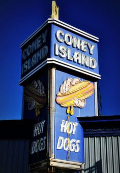 If you love Coney Island, you'll love our fine art prints of Mark Waitkus' painting of the store front! Old Neon Signs Old Neon Signs, Vintage Neon Signs, Old Signs, Coney Island, Hipsters, Nyc, Roadside Attractions, Roadside Signs, Advertising Signs
