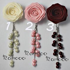Bros Pita, Bead Crafts, Diy And Crafts, Fabric Roses, Lace Bows, Hair Pieces, Headpiece, Dangles, Fashion Accessories