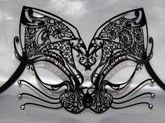 BLACK VENETIAN  MASK  ,MASQUERADE MASK,Cat mask, Swaroski, AUTHENTIC, handmade