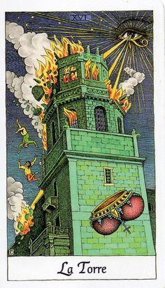 La Torre    Oscura y amenazante, la Torre es la encarnación de la complicación y el conflicto. No solo el cambio, sino el movimiento brusco y desagradable causado por los acontecimientos imprevistos y traumáticos que forman parte de la vida. La Torre en tu tirada siempre es una amenaza, pero la vida inevitablemente implica tragedia, y debes de decidir si la enfrentarás con gracia.