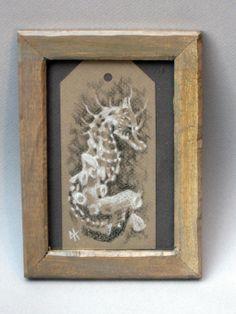 Sea Horse Original Drawing by ellixbean on Etsy, $25.00