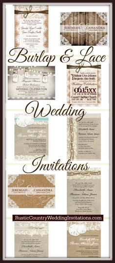 Burlap and Lace Country Style Wedding Invitations with a printed burlap design that looks real.  See invitation from a variety of designers.  40% OFF when you order 100+ invites.  | Rustic Country Wedding Invitations | www.RusticCountryWeddingInvitations.com