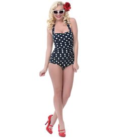 BEST SELLER! Vintage 1950s Style Pin Up Black with White Polka Dots Swimsuit - Unique Vintage - Prom dresses, retro dresses, retro swimsuits.