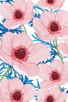 Anémonas rojas. Red anemone. Designed by Va de lazos.