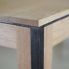 ideas-about-nothing: Manufacture Nouvelle table detail - wood & darken steel
