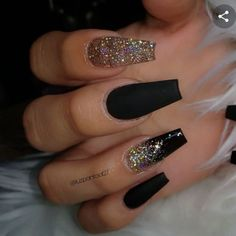 Stunning Nail Art Designs 2020 With Glam Details - Best Acrylic Nails, Ombre Nails, Nail Art Designs, Lipsticks Black Acrylic Nails, Summer Acrylic Nails, Best Acrylic Nails, Black Nails With Glitter, Acrylic Nails Glitter Ombre, Black Ombre Nails, Nail Black, Coffin Nails Ombre, Black Acrylics