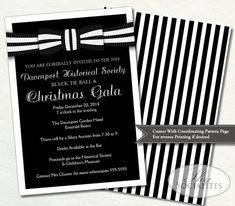 Black Tie Invitation | Black and White Ball Invitation | Formal Gala | Holiday Party | Formal Fund Raiser | Prom, Ceremony | Print at Home. £9.78