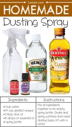 #18. Homemade Dusting Spray -- 22 Everyday Products You Can Easily Make From Home (for less!) These are all so much healthier, too!-Tried this-works great! MP