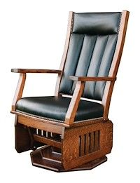 Made to Order Handcrafted Furniture with Your Choice of Hardwoods and Over 50 Finishes - Mission Swivel Glider - with platform base - Buckeye Amish Furniture Mission Chair, Mission Furniture, Swivel Glider Chair, Glider And Ottoman, Hardwood Furniture, Amish Furniture, Furniture Ideas, Amish Rocking Chairs, Living Room Seating