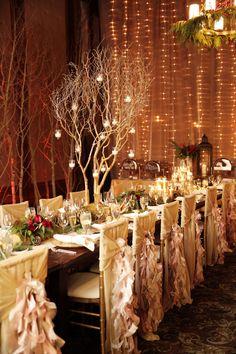A luxurious après ski wedding with a warm holiday glow | Crimson and Gold Stein Eriksen Lodge Wedding | Manzanita Tree Candle Holder | Logan Walker Photography: http://www.loganwalkerphoto.com
