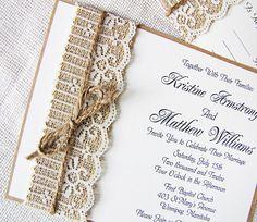 Handmade Rustic Lace and Burlap Wedding Invitation Suite. $100.00, via Etsy.