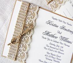 Handmade Rustic Lace and Burlap Wedding Invitation Suite. $100.00, via Etsy.