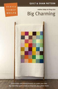 Big charming (denyse schmidt quilts) Large-scale charm quilt in modern solids Charm Pack Quilts, Charm Quilt, Quilt Baby, Scrappy Quilts, Easy Quilts, Patchwork Quilting, Quilting Projects, Quilting Designs, Quilt Design