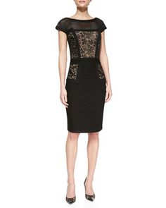 Paneled Lace Overlay Cocktail Dress by Tadashi Shoji at Neiman Marcus.