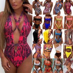 Fashion Women One-piece Monokini Bikini Padded Swimsuit V Thong Bathing Swimwear Fashion Women One-p Padded Swimsuits, Monokini Swimsuits, Women Swimsuits, One Piece Bikini, Women's One Piece Swimsuits, Micro Swimwear, Mini Bikini, Bikini Set, Swimwear Fashion