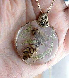 Pine Cones in Resin Necklace Set In Brass ,Botanical Nature Resin Jewelry