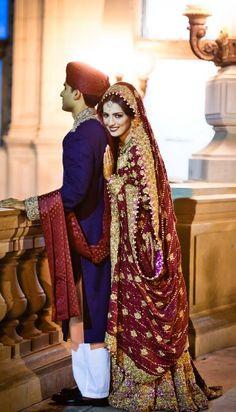 Indian wedding photography. Couple photo shoot ideas. Indian bride wearing bridal lehenga and jewelry. #IndianBridalHairstyle #IndianBridalMakeup #IndianBridalFashion