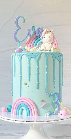 Unicorn Birthday Parties, Unicorn Party, 3rd Birthday, Cute Unicorn, Rainbow Unicorn, Unicorn Cake Design, Cake Rainbow, Blue Cakes, Girl Cakes