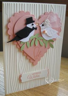 Canteloupe Wedding Birds by darbaby - Cards and Paper Crafts at Splitcoaststampers Hochzeitskarten C Homemade Wedding Cards, Wedding Cards Handmade, Homemade Cards, Homemade Wedding Invitations, Anniversary Cards For Couple, Wedding Anniversary Cards, Happy Anniversary, Handmade Anniversary Cards, Anniversary Quotes