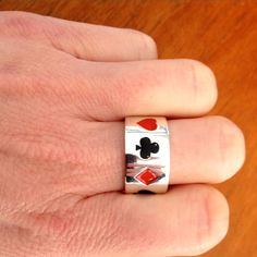 Sterling Silver Enamelled Poker Ring - Men's #poker #edgeonly #mensjewellery #ring