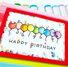 Birthday Card created using Lawn Fawn's simply celebrate stamp set & dies, copic markers & rainbow cardstock.