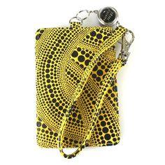 New! Yayoi Kusama Pass Case Dot Yellow Strap with Reel Japan F/S #Asian