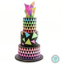 kids Cake Wrecks - Home - 11 Neon Cakes For Ou - Neon Birthday Cakes, 80s Birthday Parties, Neon Party, Disco Party, Disco Cake, 80s Party, Neon Sweet 16, Bolo Neon, Neon Cakes