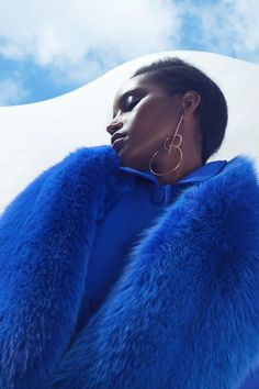 Fur outfit classic blue / color of the year 2020