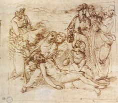 Raffaello Sanzio: Lamentation Scene c. 1506 Pen and ink over black chalk and stylus, 178 x 205 mm Ashmolean Museum, Oxford Miguel Angel, Drawing Sketches, Art Drawings, Study Flashcards, High Renaissance, Italy Art, Amazing Drawings, Famous Art, Michelangelo