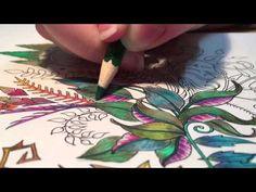ASMR Adult Coloring - Enchanted Forest #1 - Blended pencils and gel pen
