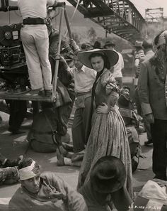 Vivien Leigh on the set of Gone with the Wind c.1939 .
