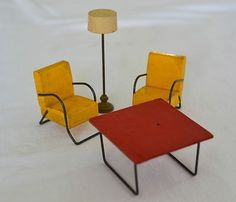 Vintage STROMBECKER Wood MID-CENTURY MODERN Sunroom DOLLHOUSE CHAIRS TABLE LAMP | #440445975