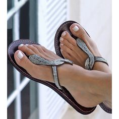 You are sure to stand out from the crowd in this sophisticated leather sandal - one of our best sellers. Featuring a decorative beaded snake design on a dark brown leather upper with a flexible flat rubber sole. Leather Flip Flops, Leather Sandals Flat, Beaded Sandals, Silver Sandals, Cute Sandals, Cute Shoes, Shoes Sandals, Wide Fit Shoes, Everyday Shoes