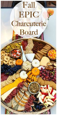 fall party food Fall Epic Charcuterie Board for casual entertaining Charcuterie Recipes, Charcuterie And Cheese Board, Charcuterie Platter, Cheese Boards, Crudite Platter, Party Food Platters, Cheese Platters, Food Trays, Fall Recipes